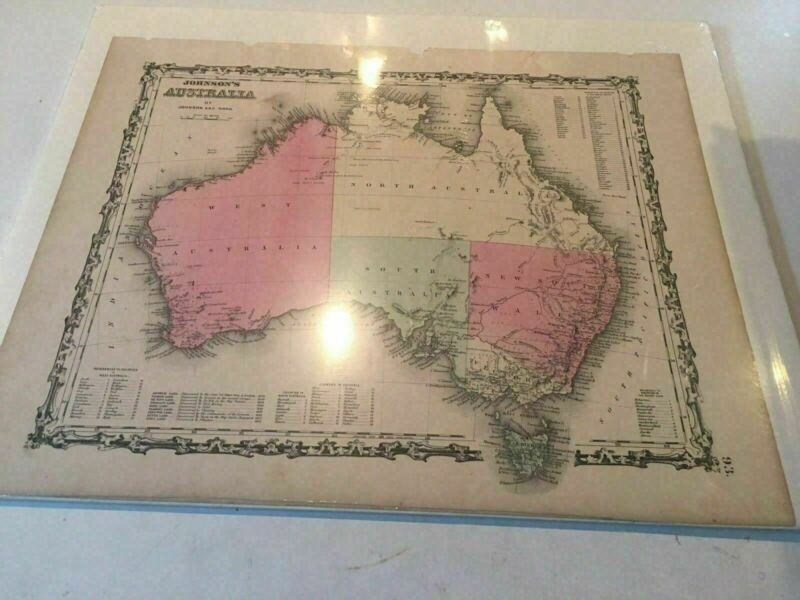 Original Johnson And Ward Hand Colored  1862 Antique Map  Australia Steel Eng