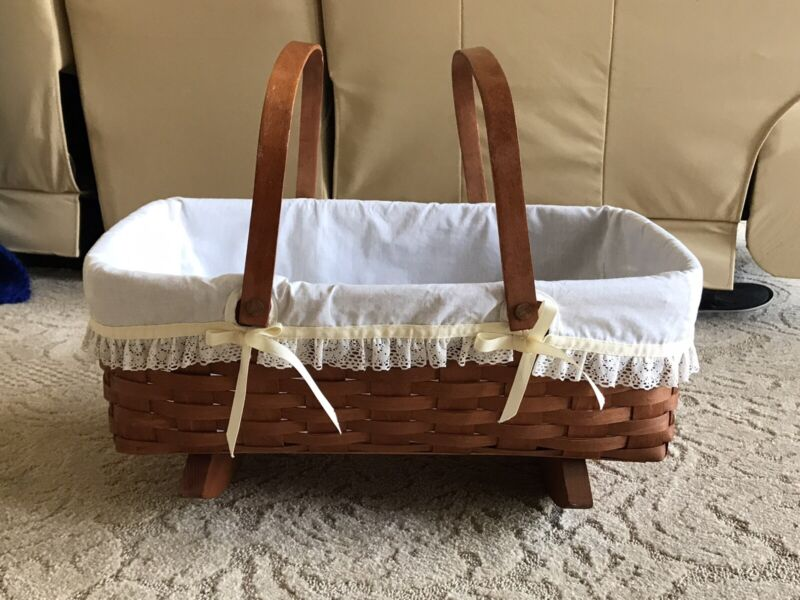 """Vintage 1989 Longaberger Cradle Rocking Basket Baby Doll Liner 18.5 X 13.5 X 6"""""""