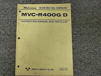 Mikasa Mvcr400g Mvcr400d Compactor Parts Catalog Owner Operator Manual