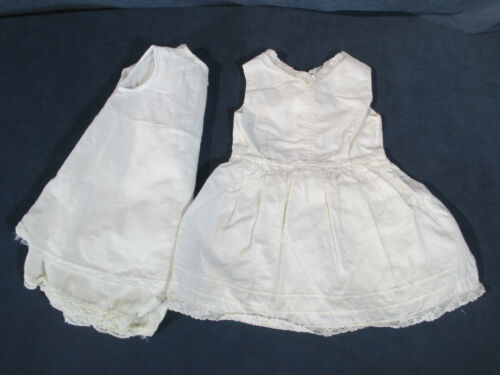 Vintage Baby Girl Slip Romper Shorts White Cotton Lace Heirloom Petticoat 2 pcs