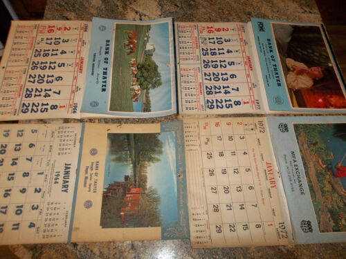 Lot of 4 Vintage Wall Calendars - Bank of Thayer & MFA West Plains, MO - 1964 ..