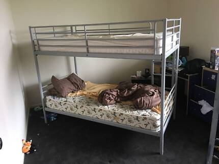 Steel frame Ikea bunk bed with safety rails