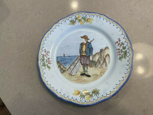 "VINTAGE QUIMPER FRANCE PLATE 10"" signed HAND PAINTED"