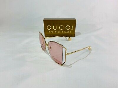 NEW GUCCI GG 0252 OVERSIZED PEARL SUNGLASSES 004 GOLD W/PINK LENS! SHIPS TODAY!