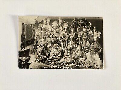 Antique 1900s Sun - Dance Opera Co Native American Indian Real Photo Postcard