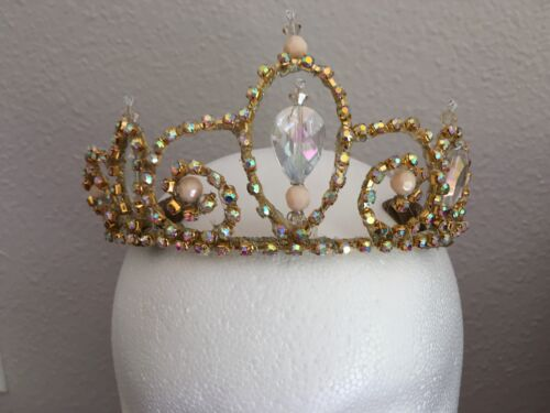 Professional Ballet Tiara Headpiece Gold AB Crystals Cream-Pink Accents Stocked