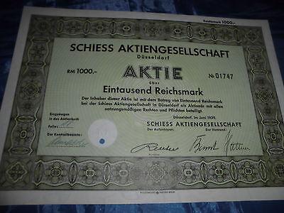 1256 : AKTIE , Düsseldorf , Juni 1939 , SCHIESS AG , 1000 Reichsmark , Nr. 01747