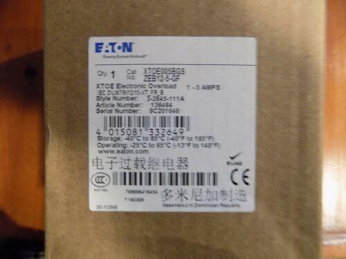Eaton XTOE005BGS ZEB12-5-GF Overload Relay