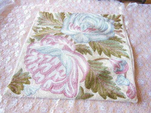 Vintage Hand-Embroidered Crewel Cushion Cover