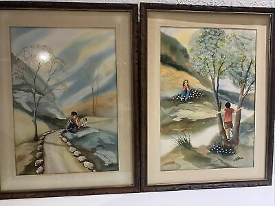 Ari Gradus Children Playing Outside Original Watercolor signed Early Work 1970's
