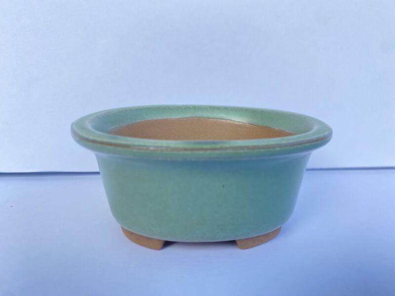 Vtg Shohin, Bonsai Succulent Pot Japanese Green Glaze Drain Hole Small Planter