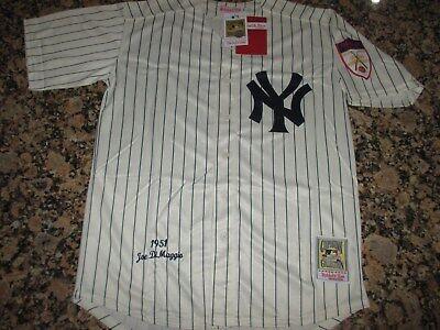 New!! JOE DIMAGGIO #5 New York YankeesCream Pinstriped Baseball Jersey XXL 52