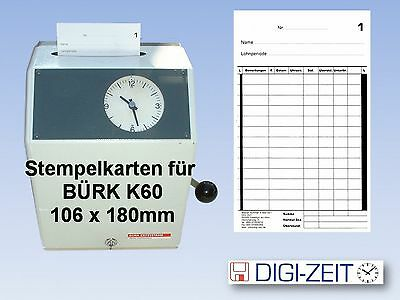 Stempelkarten für Stempeluhr BÜRK K 60 100 Stück