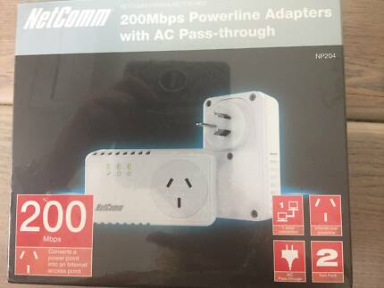 Twin Pack Netcomm NP204 Powerline Adapters/w AC Pass-through
