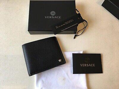 VERSACE Men's Bifold Leather Wallet Black Silver Medusa Logo RRP £270 Authentic