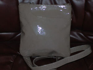 Used Radley Taupe Patent Classic Leather Crossbody/Shoulder Bag