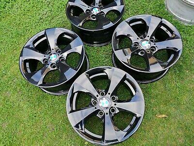 """4x GENUINE BLACK BMW 1 2 3 SERIES E81 E82 E46 E90 E91 16"""" ALLOY WHEELS"""