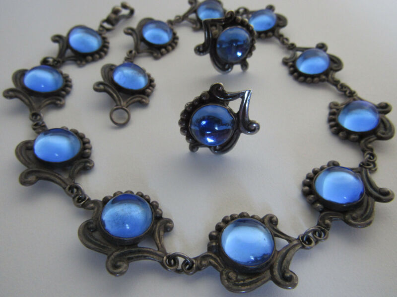 Vintage Taxco Mexico Sterling Silver Blue Glass Necklace and Earrings