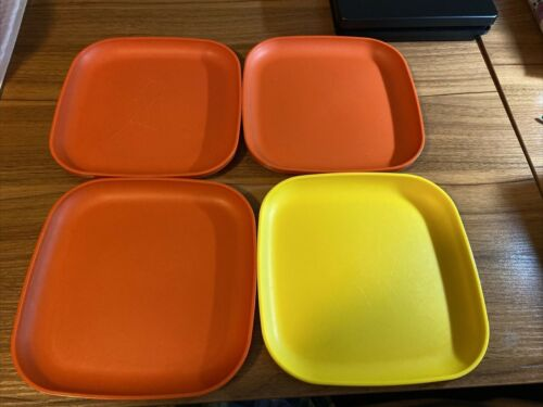 "Tupperware 8"" Square  Luncheon Plates 3 Orange and 1 Yellow"