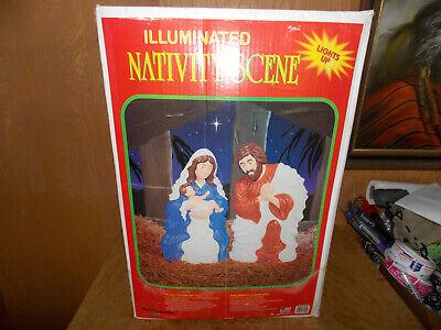 "1999 Grand Venture 28"" Nativity Set Blow Mold Light Up Yard Decor W/Box"