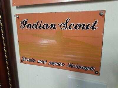 Vintage Indian Motorcycles Sign Porcelain Worlds Most Popular Motorcycle Orange