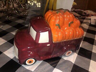 """RED Farm Truck w/Pumpkins Cookie Jar Canister Fall Ceramic New Farm Truck 9""""x6"""""""