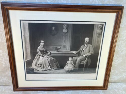 Lt Gen Stonewall Jackson & Family Engraving 1866 Proof Ed by William Sartain