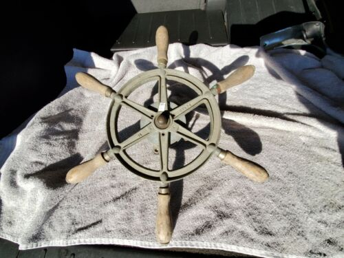 "Rare Old Perko Ship 16"" Steering Wheel Wood & Iron Nautical Maritime Antique"