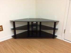 Glass tv stand corner unit