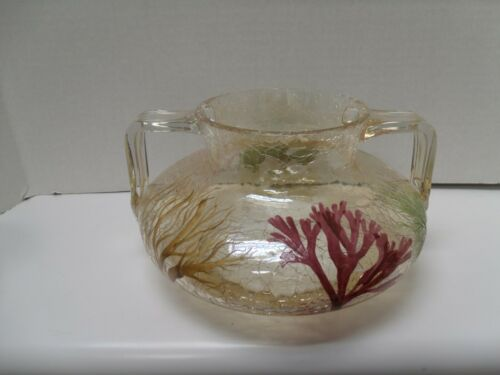 MOSER W & R L. PATENT  SEA WEED CRACKLE GLASS VASE 2 HANDLE