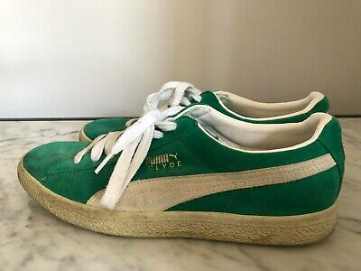 Puma Clyde Green Trainers, Size 7.5 UK