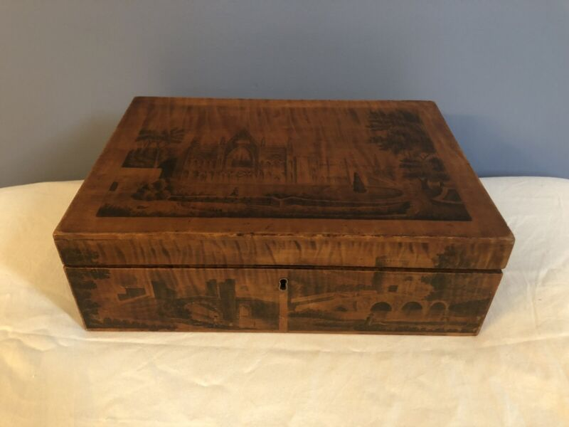 Antique 1890s Curly Maple Scenic Handmade Sewing Box