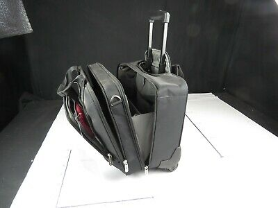 SAMSONITE 1910 BLACK ROLLING CARRY-ON LAP-TOP BAG WITH RETRACTING HANDLE