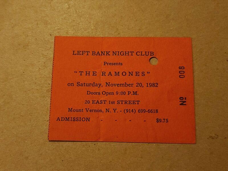 THE RAMONES ORIG TICKET STUB 1982 LEFT BANK NIGHT CLUB PUNK