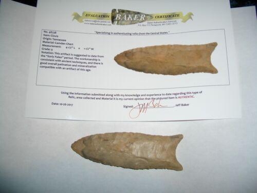 Original Paleo Large Clovis Projectile Point Arrowhead  with COA