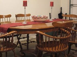 ethan allen maple dining room set w six arm chairs ebay