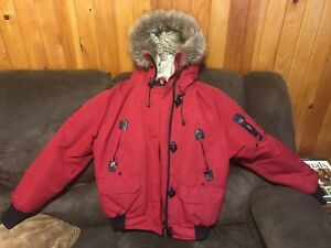 Red goose feather jacket