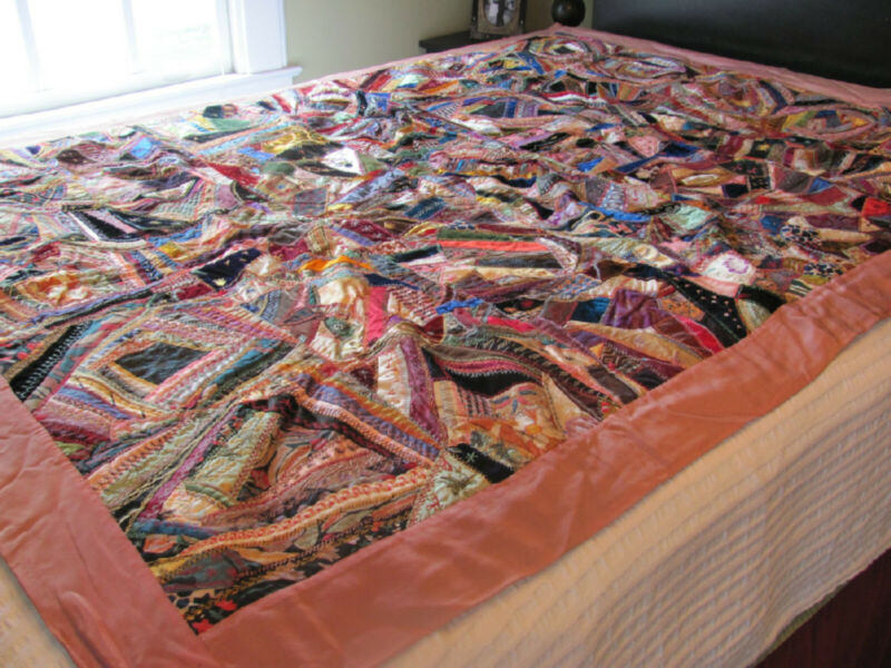 1931 Velvet & Silk Crazy Quilt Handsewn, Handpieced, Lots of embroidery accents