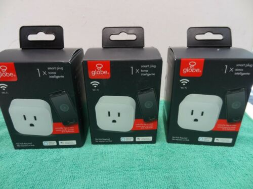 NEW 3PK Globe Electric Wi-Fi Smart Plug, No Hub Required in White - 50114