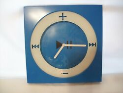 Modern Abstract Style Square Wall Clock Plus & Minus Bright Blue & White