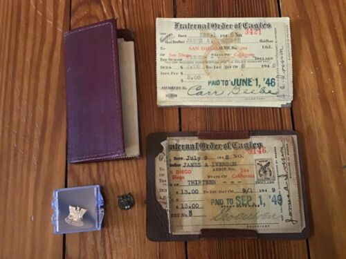 Vintage Lot of Fraternal Order of Eagles Membership Memorabilia: Receipts, Pins