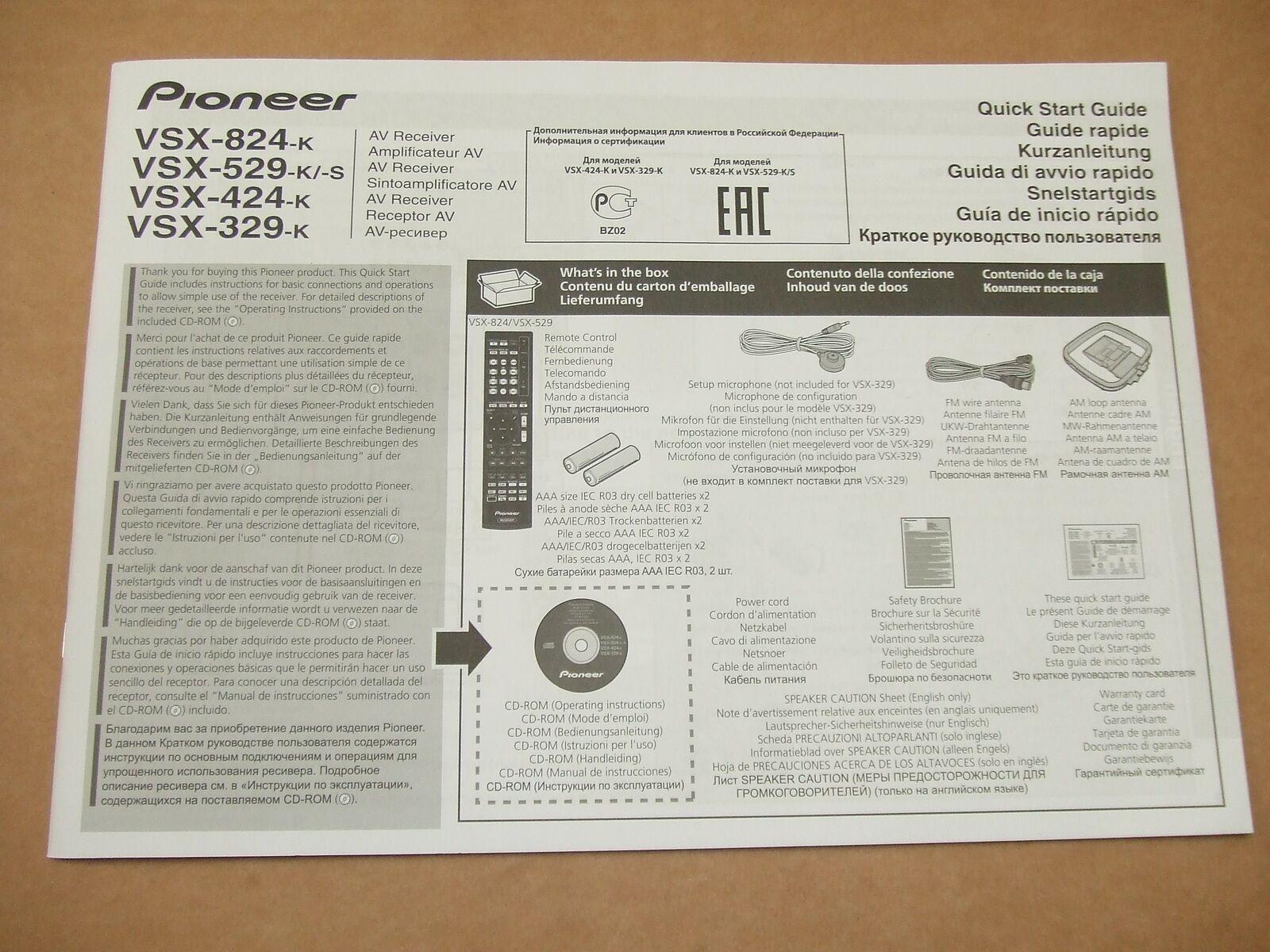 pioneer vsx-824-k user manual
