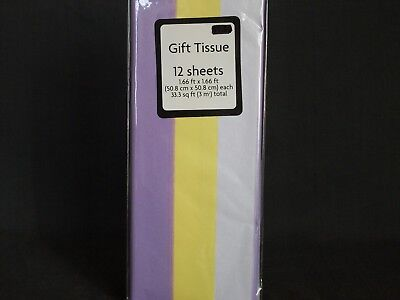 New Pastel Gift Tissue Paper Set of 12 Sheets Lilac Yellow White 1.66' x 1.66'
