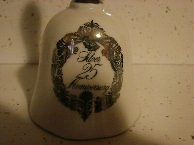25th Wedding Anniversary porcelain Dinner Bell with dark silver trim and print