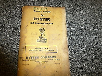 Hyster Bw Towing Winch For Cat D4 Tractor Parts Catalog Owner Operator Manual