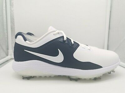 Nike Vapor Pro Golf Shoes UK 8 White Metallic White Navy Blue AQ2197-100