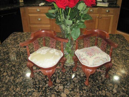 "Salesman Miniature Chippendale Style Sample Corner Chairs 8x8x12"""