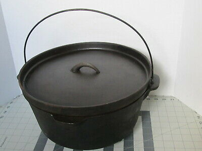 Vintage Cast Iron 3 Leg Dutch Oven Pot Cooker W/ Lid 12 In unbranded