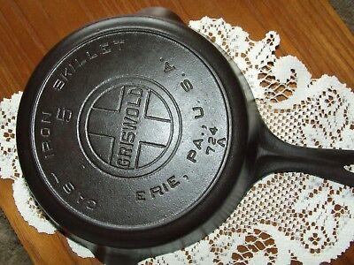 Griswold #5 cast iron skillet large block logo heat ring fry pan clean seasoned