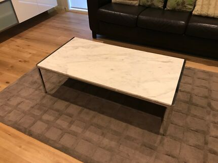 Carrara marble chrome coffee tables x 2